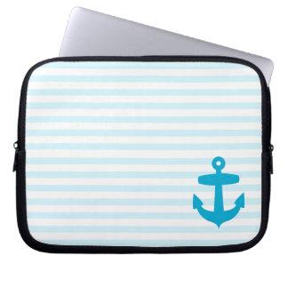 Blue Anchor and Light Blue Sailor Stripes Laptop Sleeve