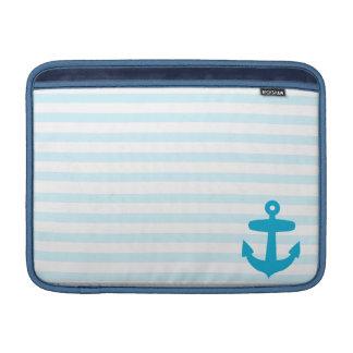 Blue Anchor and Light Blue Sailor Stripes MacBook Sleeve