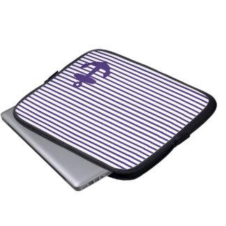 Blue Anchor and Navy Blue Sailor Stripes Laptop Sleeve