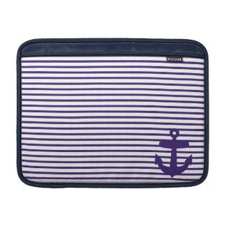 Blue Anchor and Navy Blue Sailor Stripes Sleeve For MacBook Air