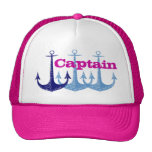 Blue anchor, girly, captain, personalised cap