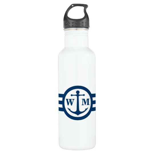 Blue Anchor Monogram Water Bottle