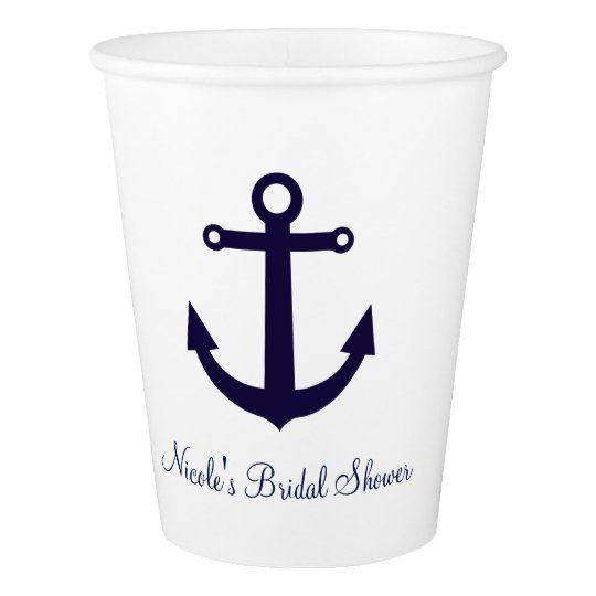 Blue Anchor Nautical Any Colour Party Cups