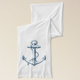 Blue Anchor Nautical Navy blue white scarf