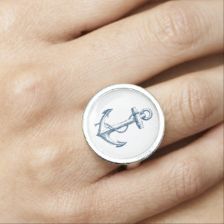 Blue anchor Nautical ring Blue and white