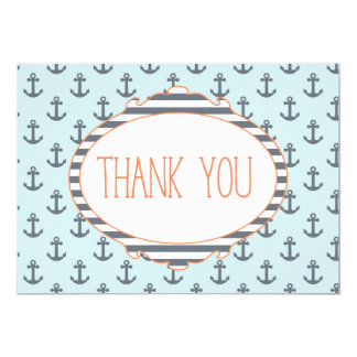 Blue Anchor Nautical Sailor Thank you card
