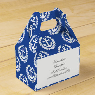 Blue anchor nautical themed wedding party favour box