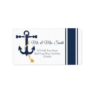 Blue anchor-nautical wedding label