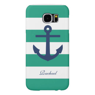 Blue Anchor on Green Stripes Samsung Galaxy S6 Cases