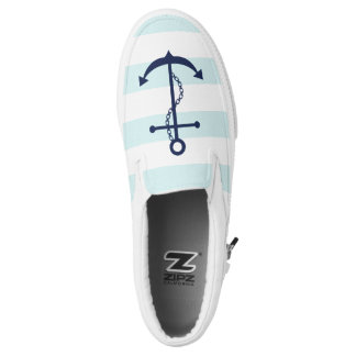 Blue Anchor on Light Blue Stripes Printed Shoes