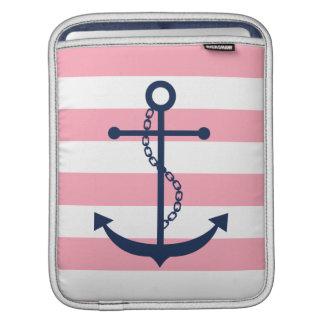 Blue Anchor on Pink Stripes iPad Sleeve