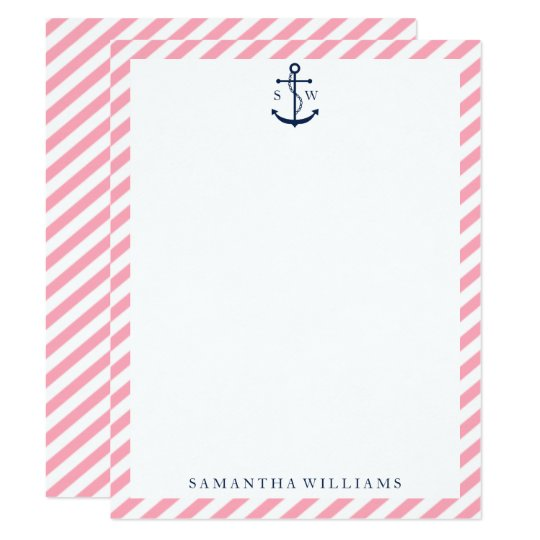 Blue Anchor on Pink Stripes Monogrammed Note Cards
