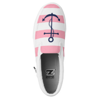 Blue Anchor on Pink Stripes Printed Shoes
