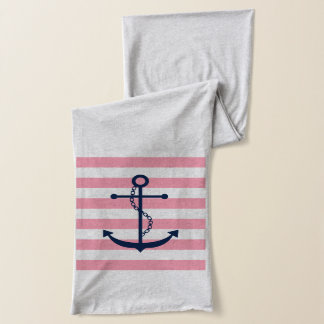 Blue Anchor on Pink Stripes Scarf