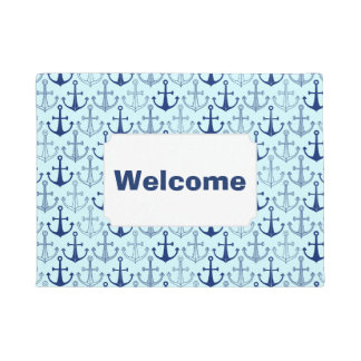 Blue Anchor Pattern | Add Your Text Doormat