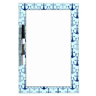 Blue Anchor Pattern Dry Erase Board