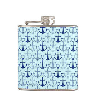 Blue Anchor Pattern Hip Flask