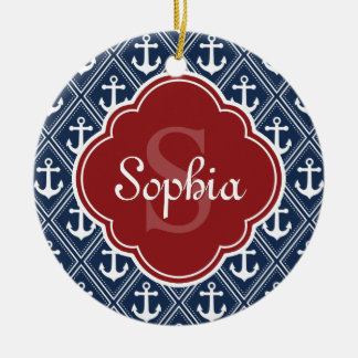 Blue Anchor Pattern Red Monogram Christmas Ornament
