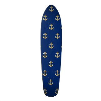 Blue anchor pattern skateboard deck
