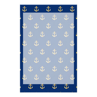 Blue anchor pattern stationery