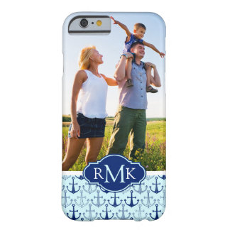 Blue Anchor Pattern   Your Photo & Monogram Barely There iPhone 6 Case