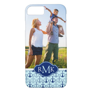 Blue Anchor Pattern | Your Photo & Monogram iPhone 8/7 Case