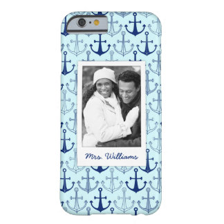 Blue Anchor Pattern | Your Photo & Name Barely There iPhone 6 Case