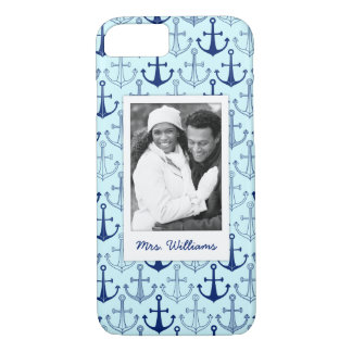 Blue Anchor Pattern | Your Photo & Name iPhone 8/7 Case