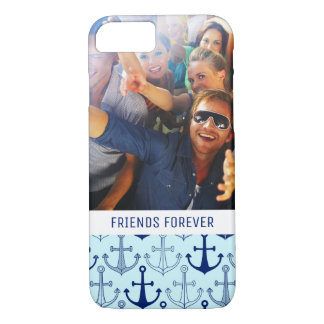 Blue Anchor Pattern | Your Photo & Text iPhone 8/7 Case