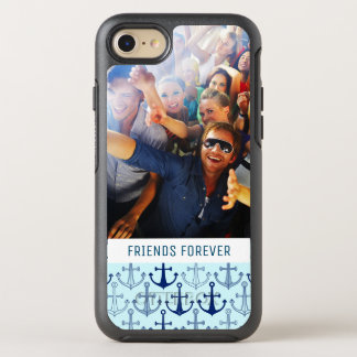 Blue Anchor Pattern | Your Photo & Text OtterBox Symmetry iPhone 8/7 Case