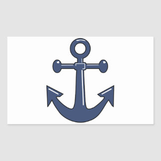 Blue Anchor Rectangular Sticker
