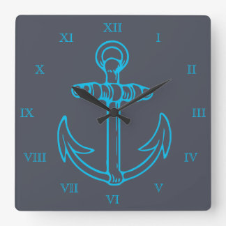 Blue Anchor Roman Numerals Ship or Boat Square Wall Clock