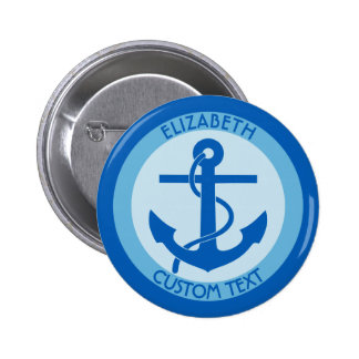 Blue Anchor Sailor 6 Cm Round Badge