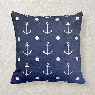 Blue Anchor Seamless Pattern, Nautical Texture Throw Pillow