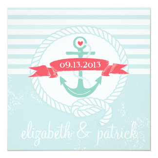 Blue Anchor Stripes Nautical Wedding Invitation