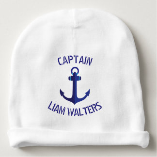 Blue Anchor Stylized Nautical Ships Captain Baby Beanie