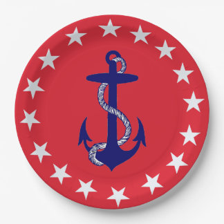 Blue Anchor & White Star on Red Nautical USA 9 Inch Paper Plate