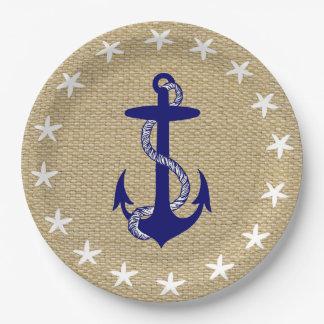 "Blue Anchor & White Starfish Nautical ""Burlap"" 9 Inch Paper Plate"