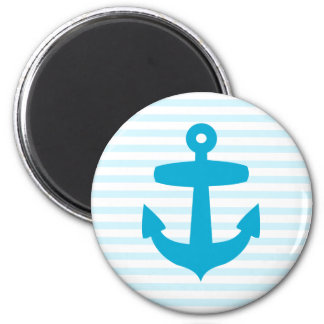 Blue Anchor with Light Blue Breton Stripes 6 Cm Round Magnet