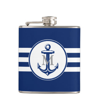 Blue Anchor with Monogram Flask