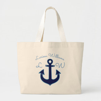 blue anchor with name & initials nautical large tote bag