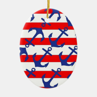 Blue Anchors On Red Stripes Christmas Ornament
