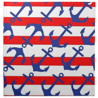 Blue Anchors On Red Stripes Napkin