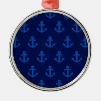 Blue Anchors Silver-Colored Round Decoration