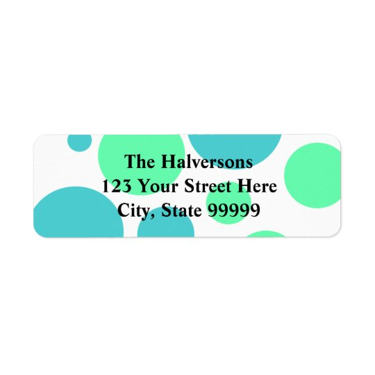 Blue and Aqua Bubble Polkadots Address Labels
