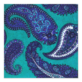 Blue and Aqua Paisley Wedding Invitation