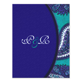 Blue and Aqua Paisley Wedding Invitation RSVP
