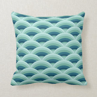 Blue and Aqua Scallop Waves Decor Pillow