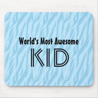 Blue and Aqua Zebra Print World s Most Awesome Kid Mousepads