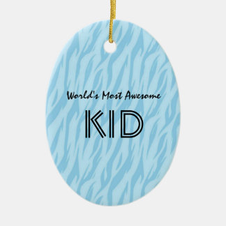 Blue and Aqua Zebra Print World's Most Awesome Kid Christmas Ornament